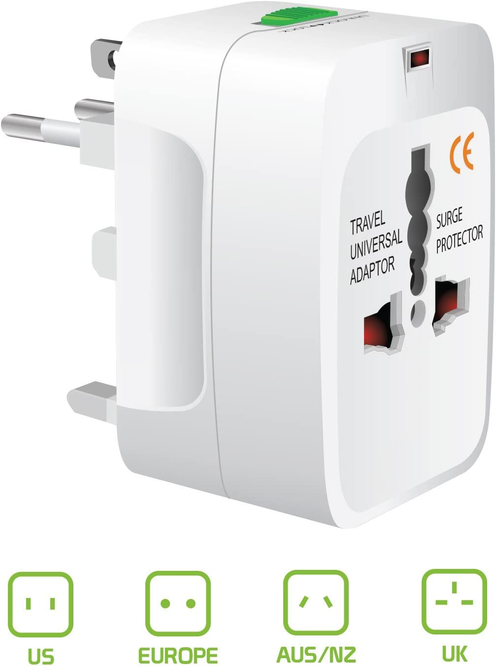 Cellet Portable Worldwide Universal Power Adapter Converter, All in One International Out of Country Travel Wall Charger Plug Compatible with USA, EU, UK, and AUS and More Outlets.