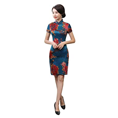 ACVIP Womens Vintage Flower Print Short Chinese Cheongsam Dresses Slim Fit (UK6 / Tag S