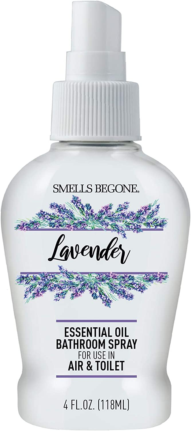 Smells Begone Essential Oil Air Freshener Bathroom Spray - Eliminates, Neutralizes and Purifies Air & Toilet Odors - Made with Essential Oils - Lavender Scent - 4 Ounce