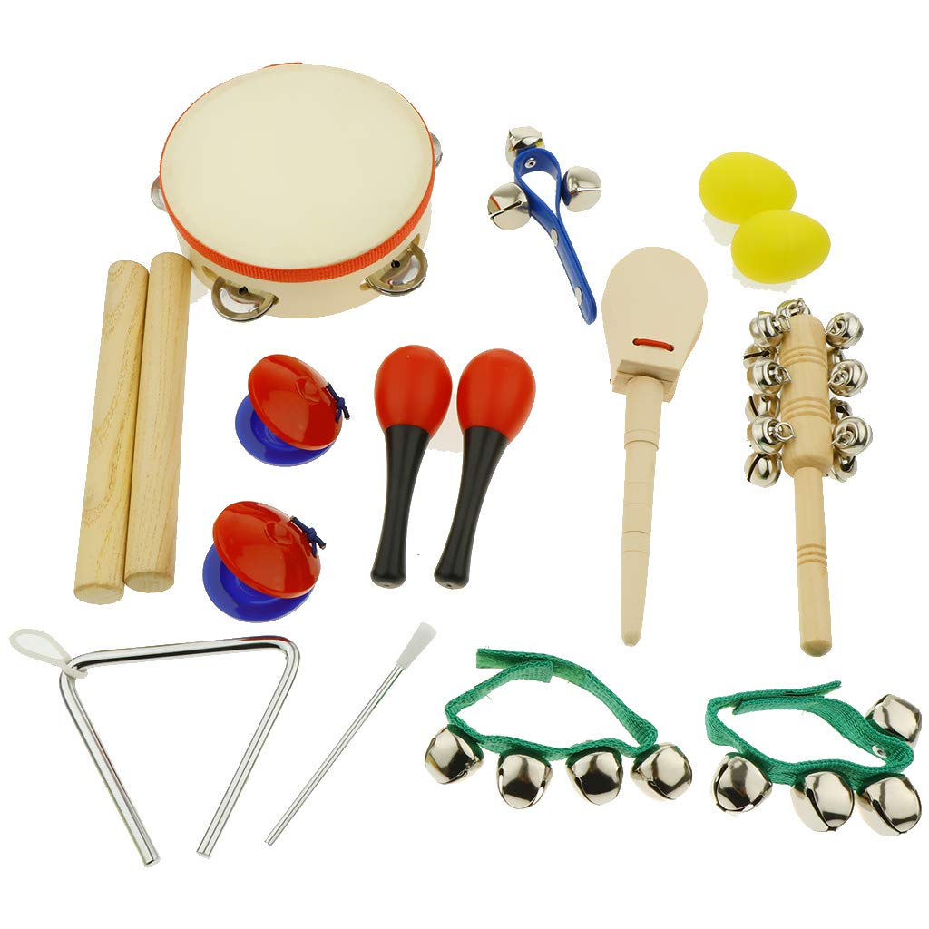 kesoto 16pcs Toddler Musical Instrument Toy Set, Tambourine & Sand Egg & Maracas & Hand Drum and More for Kids Children Music Party Toy by kesoto (Image #6)
