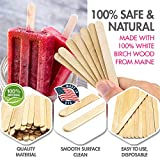 """Popsicle Sticks, (1,000pc), 4-1/2"""" Length, Food Grade Wooden Ice Cream Sticks, Great Bulk Sticks for Crafts, by Fedmax. (1,000pc)"""