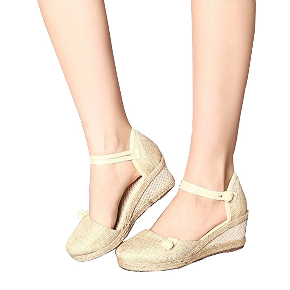Yu He Women's Casual Wedge Sandals Shoes Ankle Strap Closed Toe Espadrille Platform Wedge Beige 37