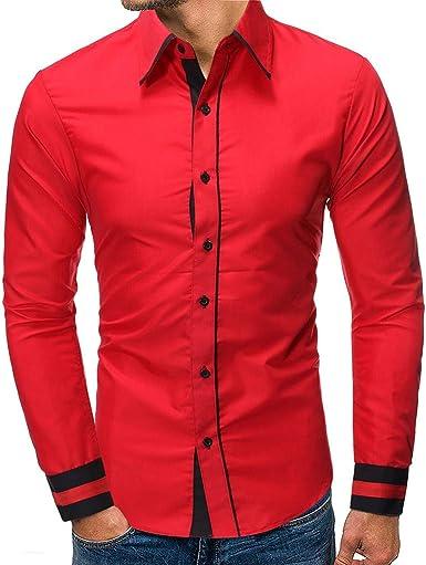 Heetey - Camisa para Hombre, de Manga Larga, con Costuras de Colores a Cuadros, de algodón Cepillado: Amazon.es: Ropa y accesorios