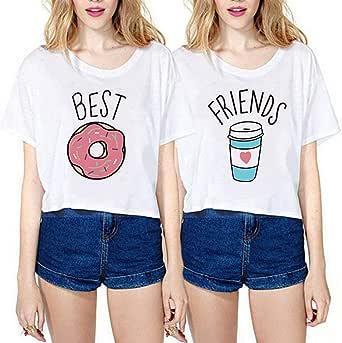 Camiseta Best Friend Impresion Elegante T-Shirt Mejores Amigas TV Show Verano Top tee(se Vende por Separado): Amazon.es: Ropa y accesorios