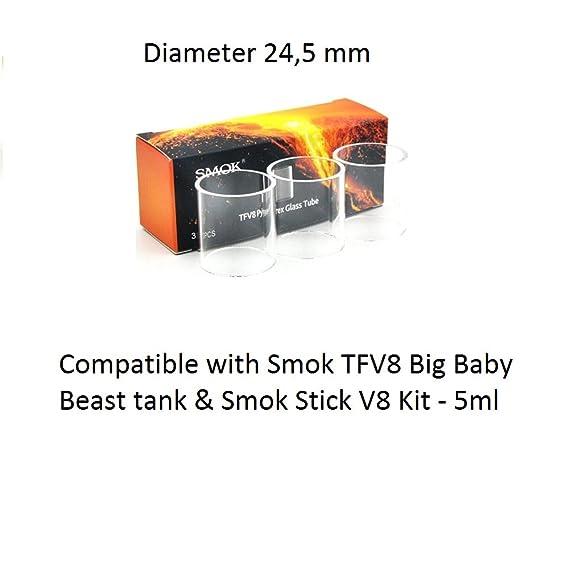 Original Smok TFV8 Big Baby Beast- V8 tubos de vidrio Pyrex- 3 piezas en paquete- (Compatible con el kit Smok Stick V8) - 24.5mm, Este producto no contiene ...