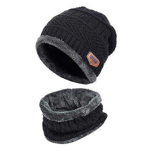 eac91a58693 MuQing Mens Beanie Hat Scarf Set Knit Hat Warm Thick Winter Cap Black