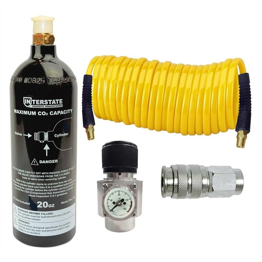 Interstate Pneumatics WRCO2-K2 CO2 Regulator and Paintball Tank, Recoil Hose and Coupler Kit