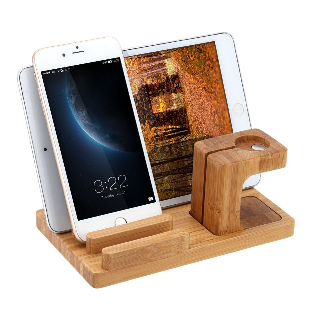Wood Apple Watch Stand,3 in 1 Bamboo Wooden Charge Charging Station Holder Cradle for 38mm 42mm iWatch Apple,iPhone,iPad,Smartphones,Tablets and Pen Holders