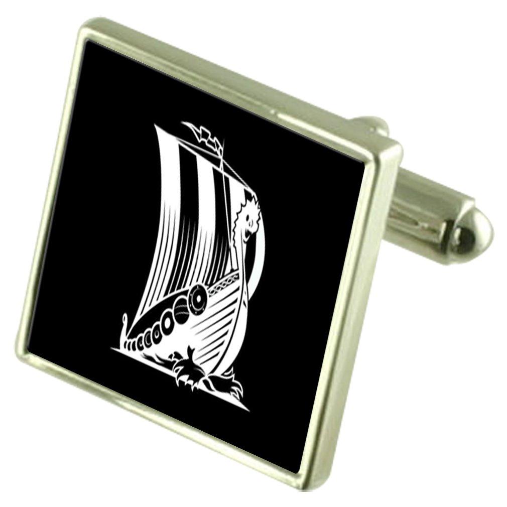 北ョ - ロッパの海賊のロングボート刻まれた記念品メッセージボックス   B0711G897C