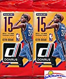2015/2016 Panini Donruss NBA Basketball Lot of TWO(2) HUGE FAT PACKS with 30 Cards! Look for Rookies & Autographs of Karl-Anthony Towns, Kristaps Porzingis, Jahlil Okafor, D'Angelo Russell & Many More