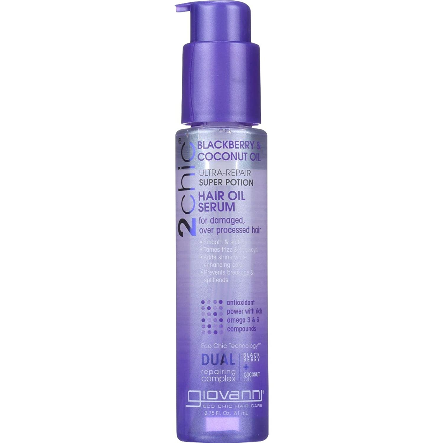Giovanni 2chic Ultra Repair Super Potion Hair Oil Serum, Blackberry and Coconut Milk 2.75 oz. (Pack of 2)
