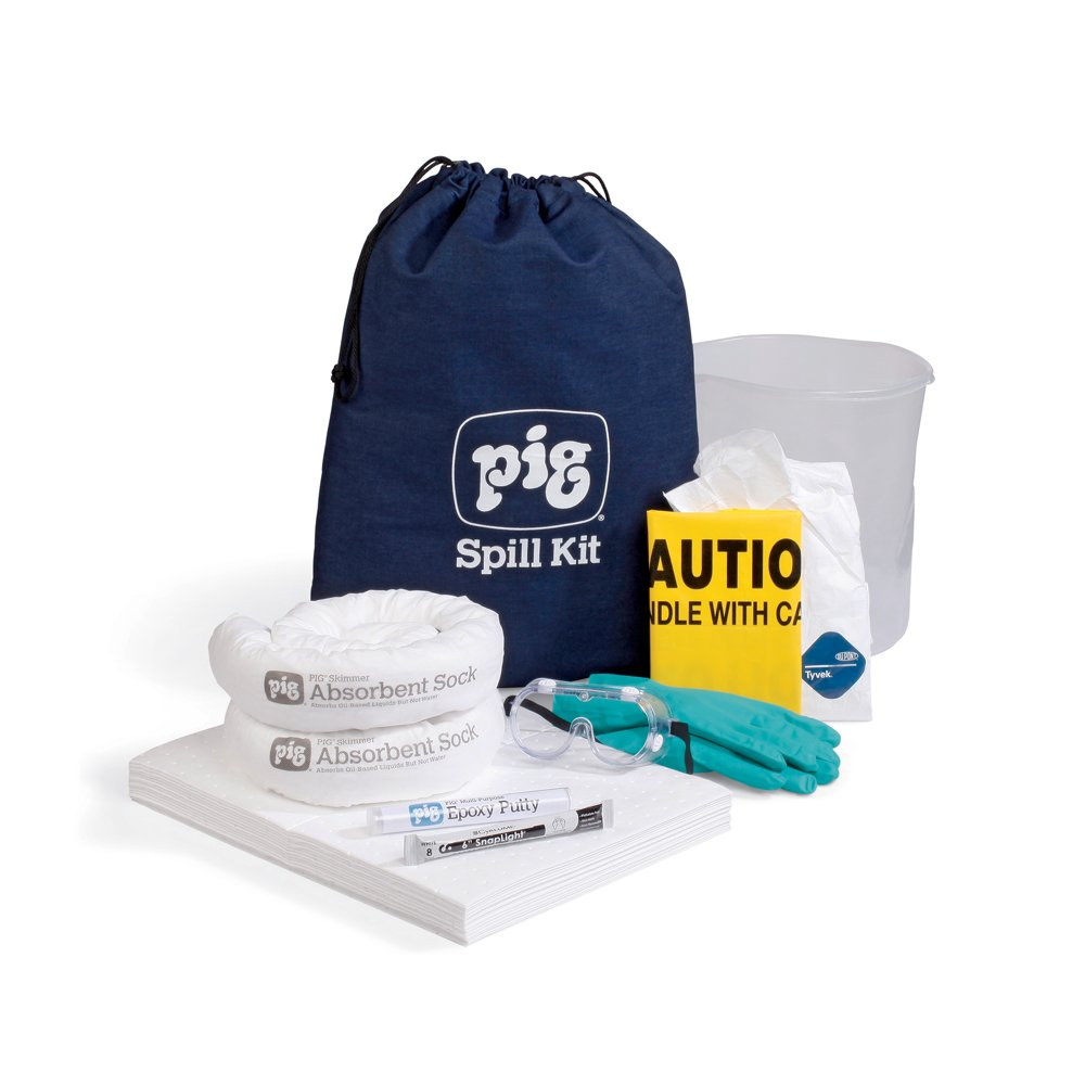 New Pig KIT406 30 Piece Oil-Only Spill Kit in Stowaway Bag, 6 Gallon Absorbency by New Pig Corporation