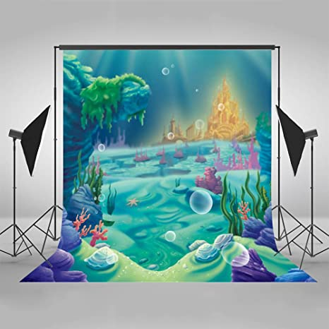 Mehofoto Under Sea Little Mermaid Backdrop Blue Castle Shell Coral Photography Background 5x7ft Poly Cotton