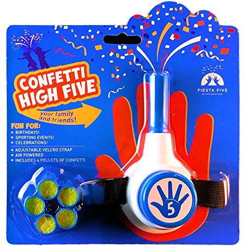 FiestaFive - Confetti High Five HandHeld Toy Shooter with 6 Refills (Blue/White) ()