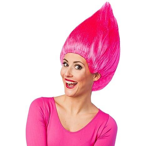 NET TOYS Colorida Peluca de Troll para Adultos | Rosa Fucsia | Ostentoso Accesorio para Disfraces