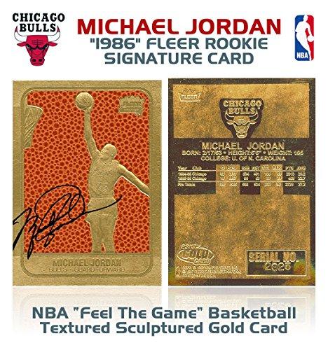 Fleer MICHAEL JORDAN 1986 ROOKIE FEEL THE GAME SIGNATURED 23KT GOLD CARD!