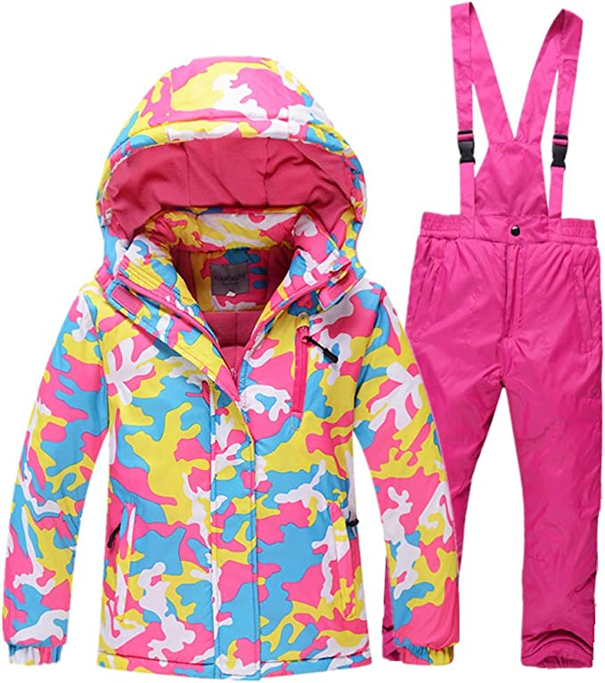 Skijacke+ Skihose LSHEL Kinder Jungen//M/ädchen Skifahren 2 Teilig Schneeanzug Skianzug