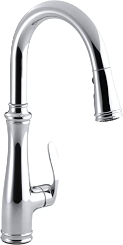 Kohler K-560-CP Bellera Pull-Down Kitchen Faucet, Polished Chrome, Single-Hole or Three-Hole Install, Single Handle, 3-function Spray Head, Sweep Spray and Docking Spray Head Technology Renewed