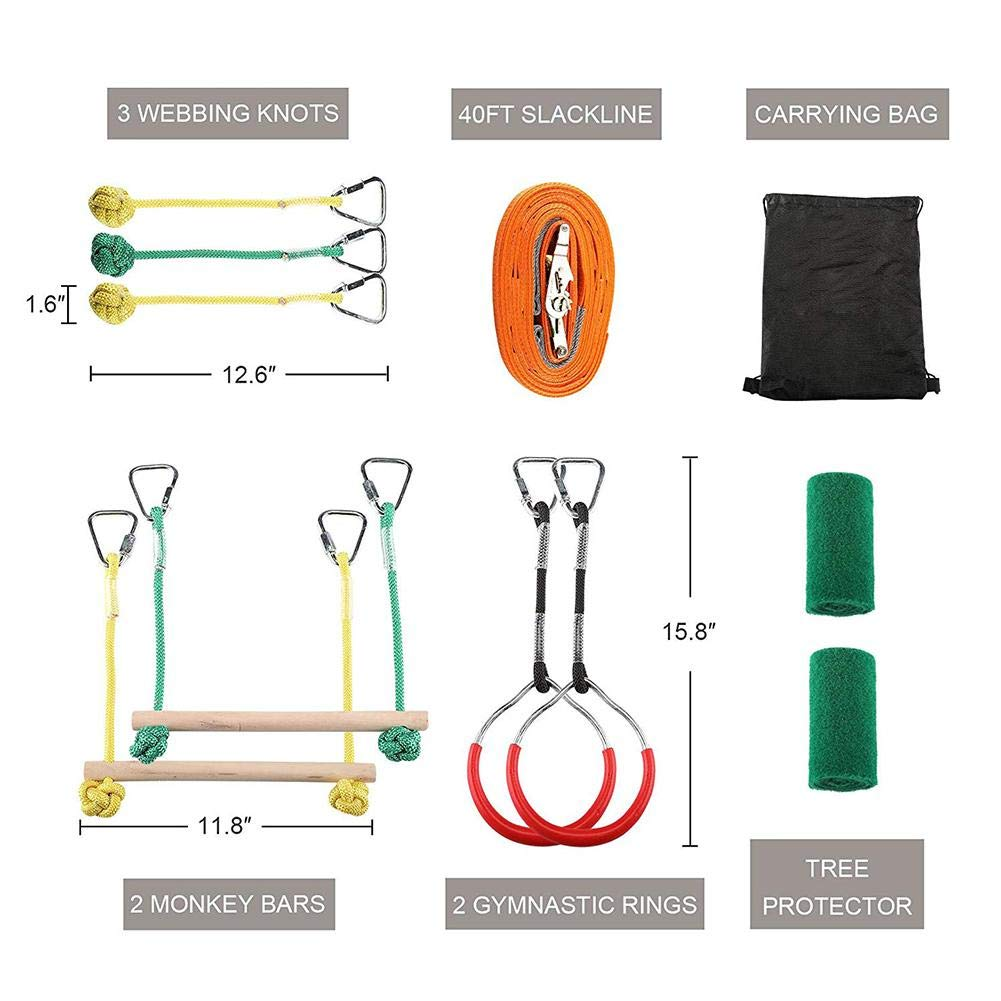 Jungels Portable Kids Obstacles Sling Ring - Monkey Pole Trapeze Bar Kit - 40 Foot 250lb Capacity Trapeze Swing- Outdoor Physical Training Gymnastics Garden Toy by Jungels (Image #5)