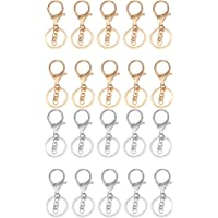 20 Pieces Snap Lobster Clasps Clips Hook with Chain Keychain Key Ring Keyring Findings Silver Gold