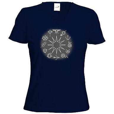 getshirts - Das Schwarze Auge - T-Shirt Damen V-Neck - Götter - Symbole -  Zwölfgötterkreis: Amazon.de: Bekleidung