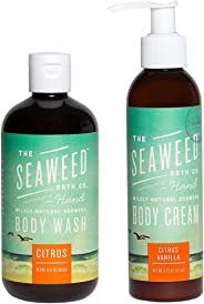Seaweed Bath Company All Natural Organic Citrus Body Wash and Body Cream Bundle With Bladderwrack Seaweed, Aloe Vera, Neem Oil, Kukui Oil, Babassu and Blue Green Algae, 12 fl. oz. and 6 fl. oz.