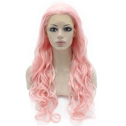 Iwona Celebrity largo, ondulado sintético Lace Front Peluca Rosa Cosplay Fiesta