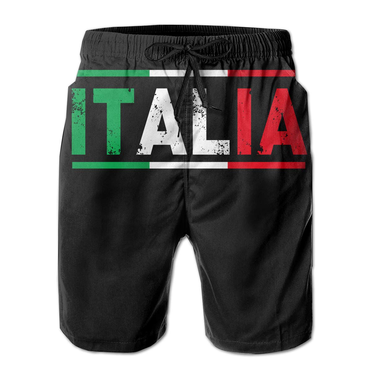 JF-X Italian Flag Mens Summer Beach Surf Board Shorts Quick Dry Swimming Trunks Casual Loose Sleep Short Pants