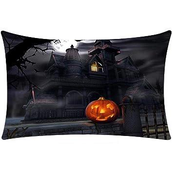 Gusspower Funda de Almohada,Fundas de cojín Almohada algodón de Lino decoración sofá Coche Cama Almohada Rectangular de Halloween (E, 50 * 30cm): Amazon.es: ...