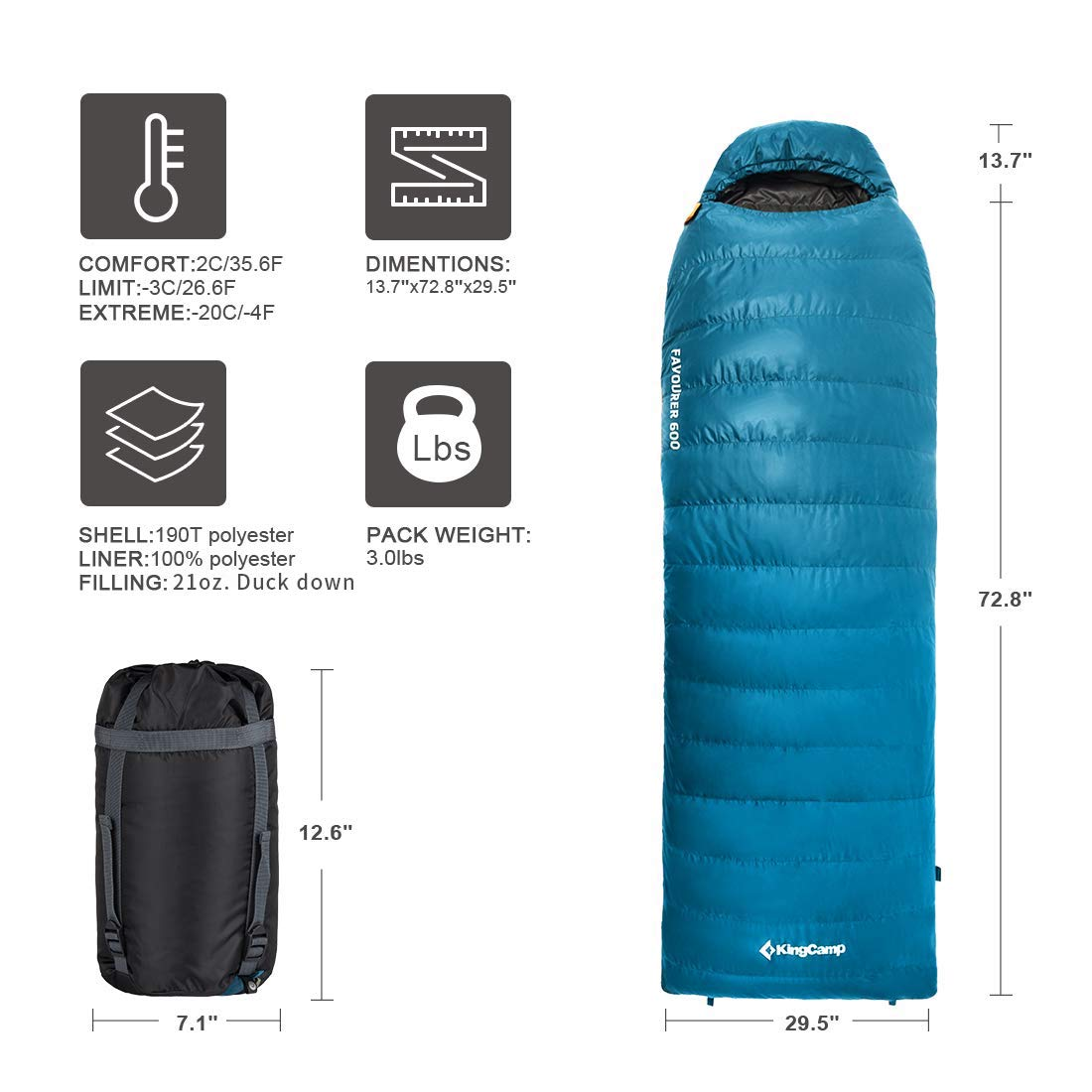 KingCamp Down Envelope Sleeping Bag for Backpacking 10.4 -4 Degree F 500 Fill Power Ultra Warm Hooded Lightweight Portable Waterproof Comfort with Compression Sack for Winter Camping Hiking