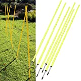SpiritOne 6 Agility Poles Portable Outdoor Training Markers Obstacle Football Soccer Coach