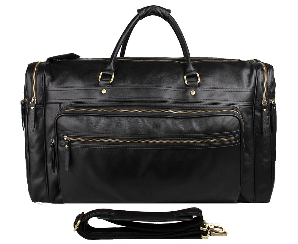 Genda 2Archer Genuine Leather Large Duffel Weekender Overnight Travel Tote Bag