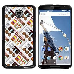 Be Good Phone Accessory // Dura Cáscara cubierta Protectora Caso Carcasa Funda de Protección para Motorola NEXUS 6 / X / Moto X Pro // Retro Candy Wrapper Pattern