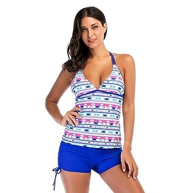 3b97e9a4c72bc Women Geometric Printing Bikini Tankini Sets Two Piece Swimsuits Beach Suit  Retro Polka Beachwear Mid Waist Split Swimwear Padded Tummy Control Swimsuit  ...