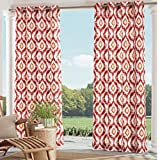 Ln 1 Piece Spice Ikat Gazebo Curtain Panel 84 inch, Gold Ogee Pattern Outdoor Curtain Light Blocking for Patio Porch, Geometric Indoor/Outdoor Drape Pergola Garden Sunroom Grommet, Polyester