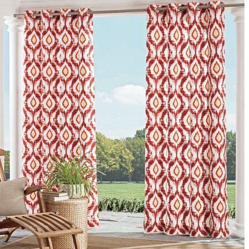 Ln 1 Piece Spice Ikat Gazebo Curtain Panel 95 Inch, Gold Ogee Pattern Outdoor Curtain Light Blocking for Patio Porch, Geometric Indoor/Outdoor Drape Pergola Garden Sunroom Grommet, Polyester