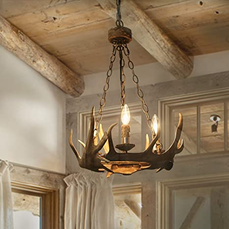 Log Barn 3 Lights Farmhouse Faux Antlers Chandelier In Hand Polished
