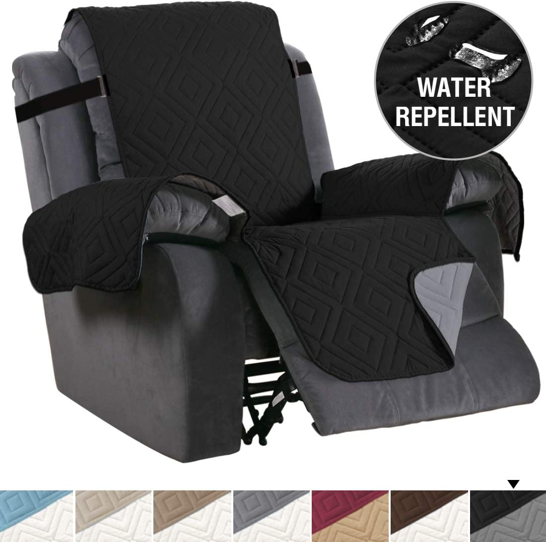 """H.VERSAILTEX Recliner Cover Reversible Sofa Slipcover Furniture Protector Water Resistant 2 Inch Wide Elastic Straps Recliner Chair Cover Pets Kids Fit Sitting Width Up to 22"""" (Recliner, Brown/Beige): Kitchen & Dining"""