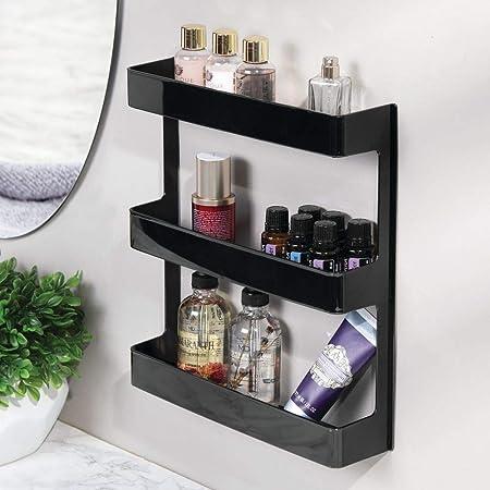 MetroDecor mDesign Organizador de medicamentos - Estantería de Pared con 3 estantes - Baldas para baño de plástico para Guardar medicinas, ...