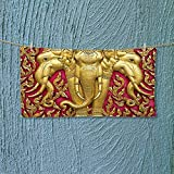 Nalahome Gym Shower Towel Elephant Carved Gold Paint on Door Thai Temple Spirituality Statue Classic Image Magenta Soft Cotton Machine Washable L27.5 x W11.8 inch