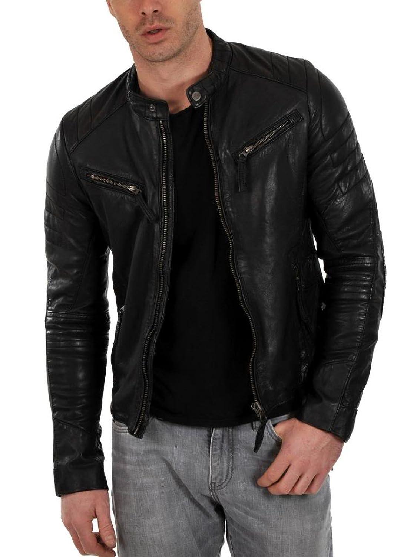ABDys Men's Lambskin Leather jacket DKL332 Black