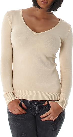timeless design eb39b af20c Damen Pullover Sweat Pulli Shirt Feinstrick V-Ausschnitt Sweater Langarm  Sweatshirt