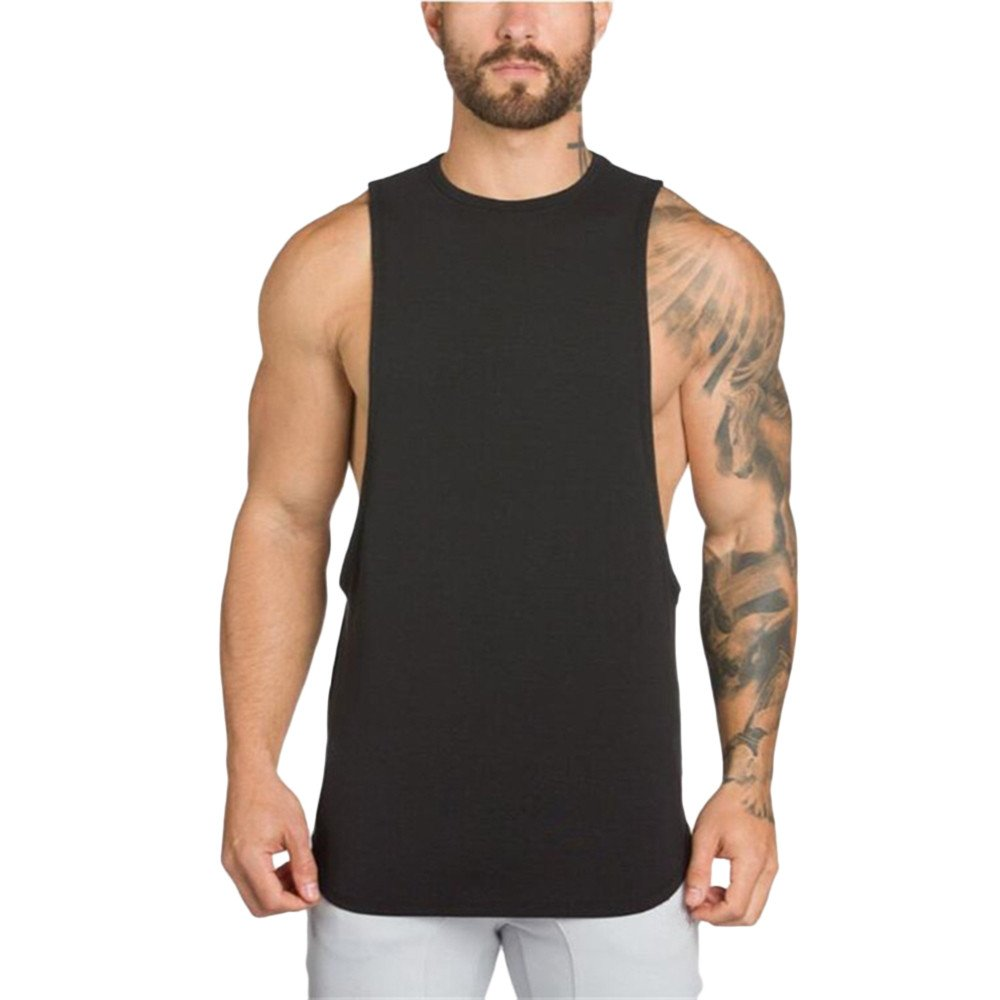 MODOQO Men's Tank Tops Fitness Sleeveless Cotton O-Neck T-Shirt Gym Vest(Black,M) by MODOQO (Image #1)