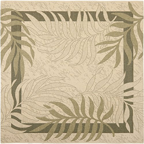 Safavieh Courtyard Collection CY7836-14A5 Cream and Green Indoor/ Outdoor Square Area Rug (6'7