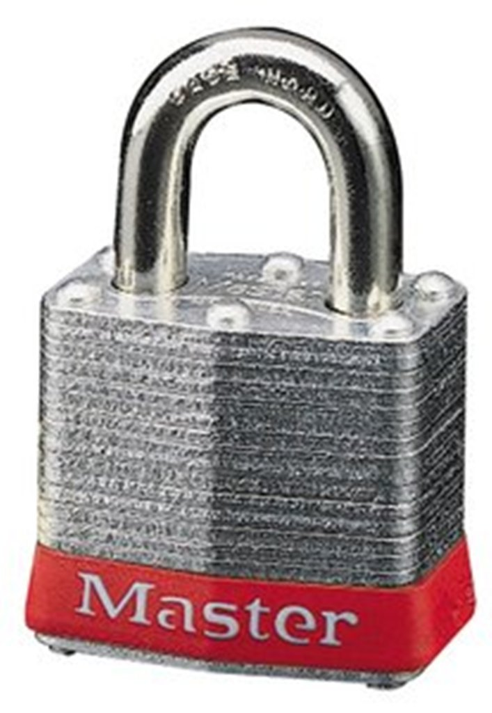 Master Lock 3KAMKRED Safety Lockout Master Keyed Padlock with 3/4-inch Clearance, Red Bumper