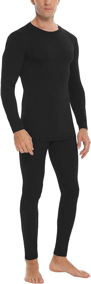 Daupanzees Men's Ultra Soft Thermal Underwear Elastic Lightweight Thin Fleece Lined Long Johns Set
