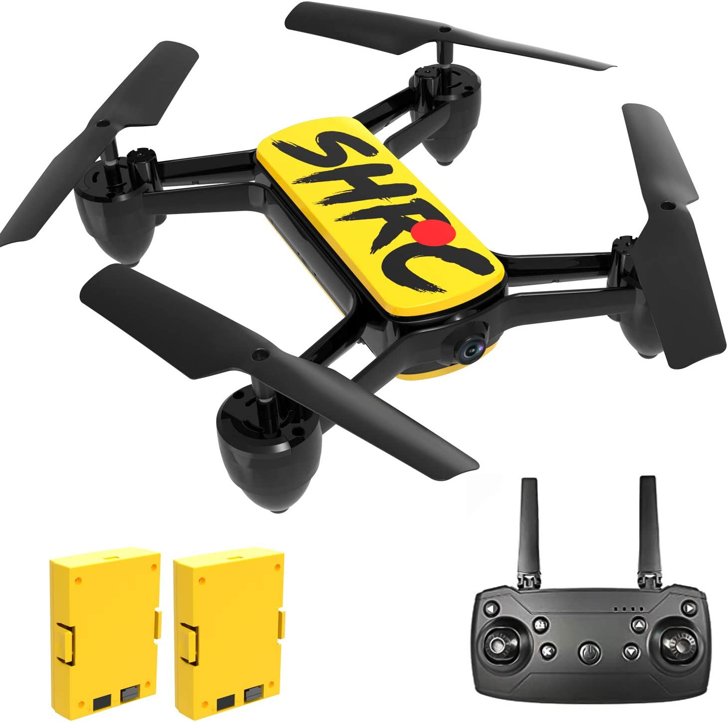 Drone with 4K Camera,HD WiFi Transmission Live Video,2 Modular Batteries 30mins Flying Time,Altitude Hold,Headless Mode,3D Flips,One Key Start/Land,Drone for Beginners Adults and Kids(Yellow)