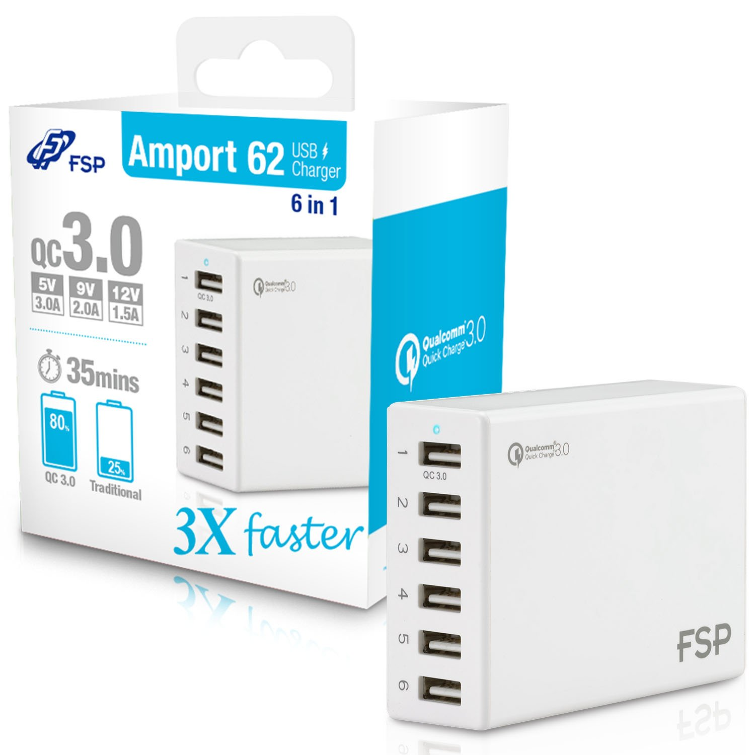 FSP 62W 6 Port Quick Charge 3.0 USB Charger 5V 9V 12V Auto Detect for iPhone iPad Tablet Android MP3 Power Bank (Amport 62 White)