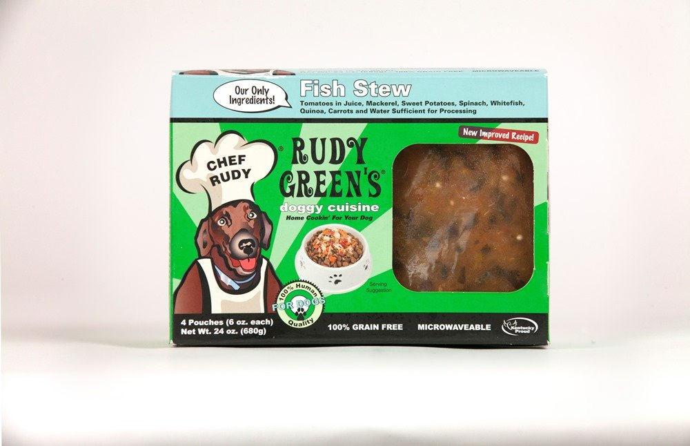 Rudy Greens Doggy Cuisine Home Cooking For Dogs Fish Stew Frozen Dog Food 5 Boxes (7.5 lbs Total, 20 Pouches each 6 oz)