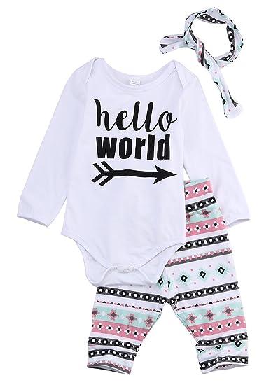 bd22160765e4 3Pcs Newborn Baby Girls Infant Outfit Set Romper T-shirt+Pants Headband  Clothes (